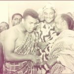 image of Ali and Rahaman- in a nkyimnkyim (zigzag) kente meeting the Asantehene Prempeh II